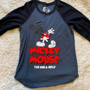 Women Mickey Mouse Disney Shirt 3/4 Sleeve Gray S